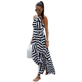 074fef0b6 Vestido Largo Sin Manga Rayas Para Mujer - Blanco Negro