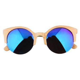 9336af4c0e Agotado EW Vidrios Del Capítulo Nuevo Medio Gafas De Sol Redondas Completa  Gafas De Bambú Para Hombres