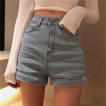 Pantalones Cortos De Verano Para Mujer Estilo Coreano Elegante Retro Cintura Alta Ajustados Para Mujer Faciles De Combinar Regulares Pantalones Cortos De Mezclilla Para Mujer Blue Linio Peru Un055fa0jrvxvlpe