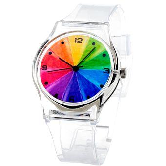 Para Extensible Blackmamut Reloj Niña Movimiento Transparente Carátula Hebilla Arcoiris Niño O Broche Cuarzo Silicon De txQsdhrC