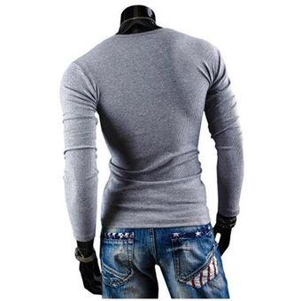 e18d2d650f4f9 Compra T-shirt Camiseta Manga Larga V-cuello Para Hombres-Gris Claro ...