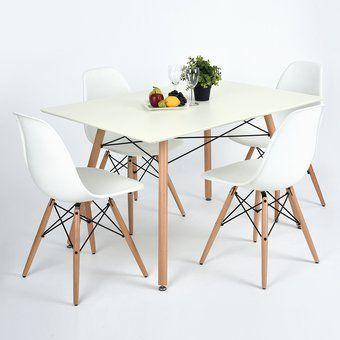 Juego de mesa de comedor Furniturer London+Rico WH (Mesa + 4 Sillas)
