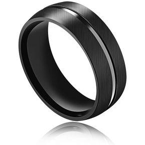 38497b1b2f6e Anillo De Acero Titanium Clásico Joyería Encanto Negro