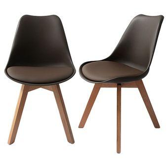 compra juego de 2 sillas estilo eames color chocolate paream133 2