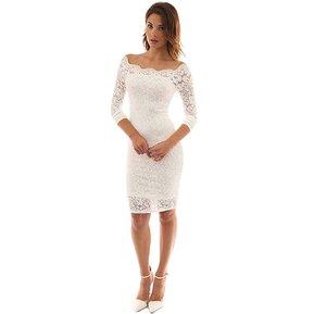 3912e01a58 Vestidos de encaje sin hombros para bodas