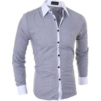 557f7009b4 Compra Hombres Manga Larga Contraste Recortar Camisa (Gris) online ...