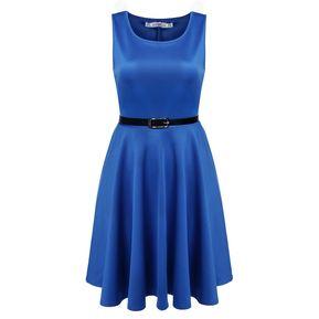 9501643a12b7f Meaneor Vestido Plisado De Fiesta Con Cinturón Para Mujer-Azul