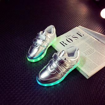 bdcc8a3f Agotado Zapatos Para Niños Con Luces LED Colorido Calzado Casual-plata