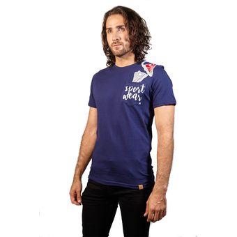 5fa71d89a8 Agotado Camiseta Color Azul Oscuro Para Hombre Manga Corta Cuello Redondo  Con Bolsillo Estampado Sport Wear