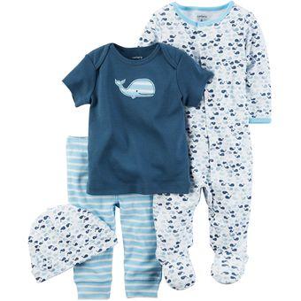 Agotado Set Conjunto 4 Piezas Carter´s De Algodón Para Bebé Niño - Celeste b988ac1dfcf