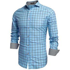 Hombres moda vuelta abajo camisas cuello manga larga tela escocesa de  algodón botón bb589bb150f