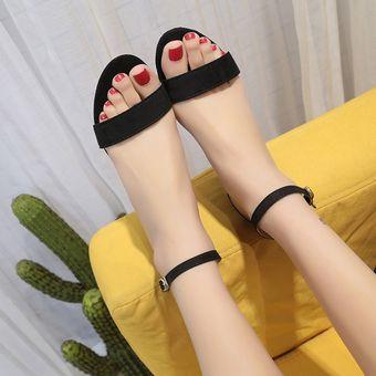 112e8eabba4 Compra BX Dama zapatos de tacón medio negro sandalias al tobillo ...