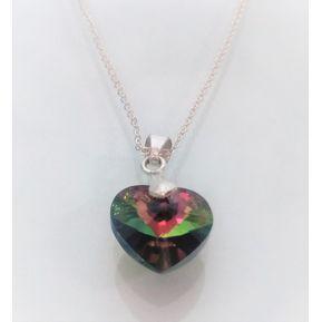 b21ce1e51d0c Collar Mujer Corazón Tornasol Swarovski En Plata 950