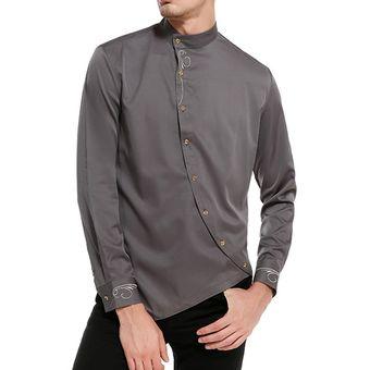 1aceae654827a Compra Camisa Con Botones Oblicuos E-Thinker Para Hombre - Gris ...