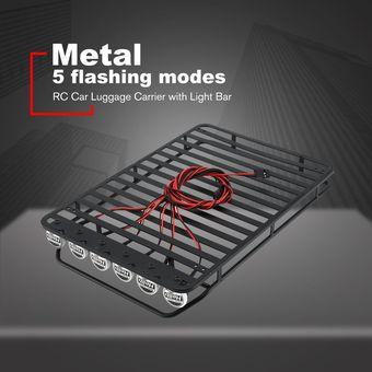 Nrpfell Portaequipajes de Techo de Metal con 6 Luces LED Blancas para 1//10 AXIAL SCX10 D110 D90 RC Crawler Climbing Car A