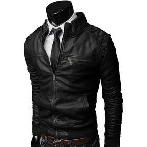 98b797d117d84 Chaqueta Hombre Cuero Sintético Combinada-Negro