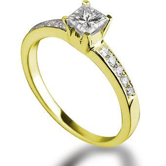 5437ac64a2b1 Anillo De Compromiso P10 De Oro Amarillo De 14Kt Y Diamante Natural Central  Certificado Corte Princess