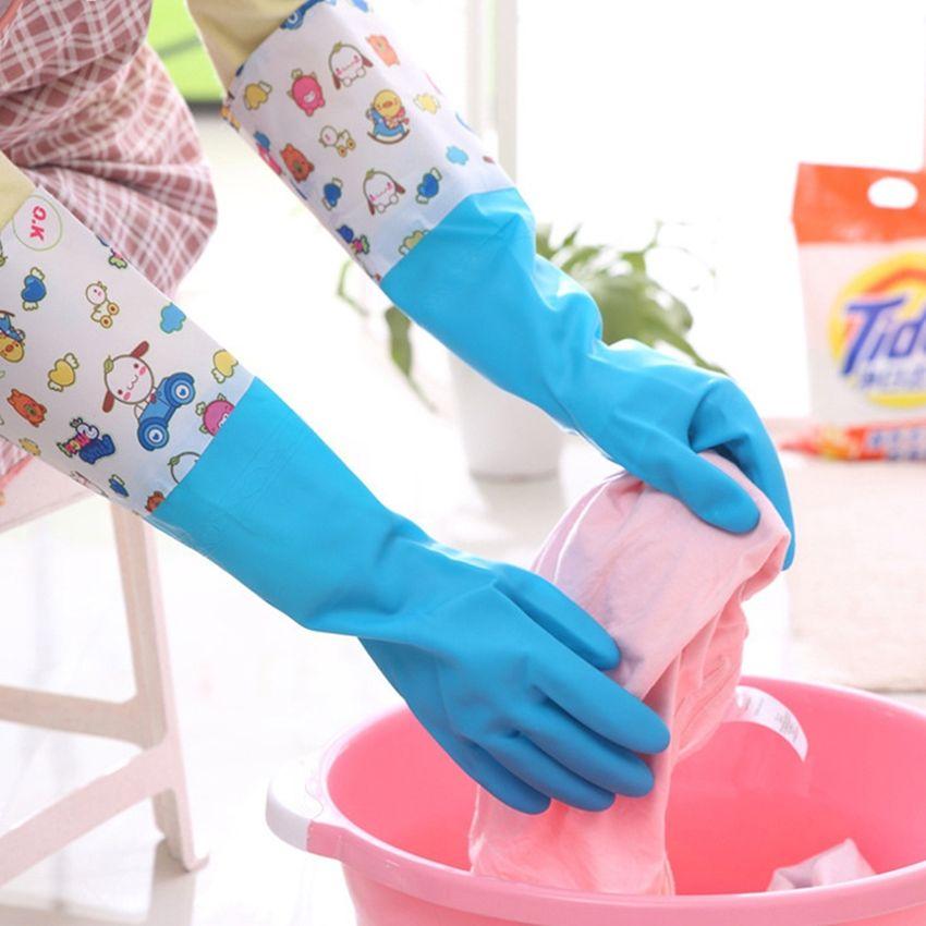 1 Par Pelusa Vida Impermeable Forro Elástico Cierre Caliente Dishwashing Limpieza Guantes De Goma Tamaño: L SU015HL100YTHLMX WLSbmqtf WLSbmqtf 7WnAnS26