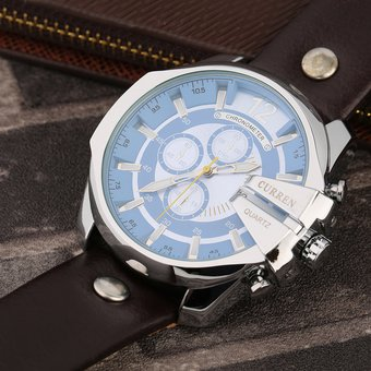 f7f931804dee Agotado EW CURREN 8176 Reloj De Cuarzo De Moda Cinturón De Concha De Plata  Cara Azul Correa