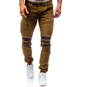 75d1662270 Pantalones vaqueros pitillo elásticos desgastados Pu Patchwork Moto Jeans