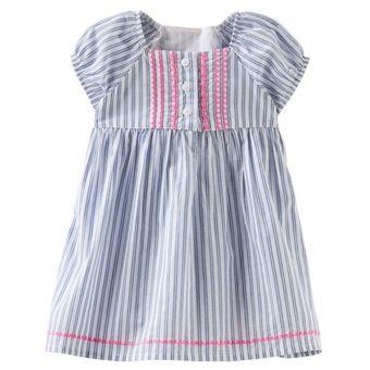 0a26421bd1 Compra OshKosh - Vestido manga corta para Bebé Niña - Azul a rayas ...