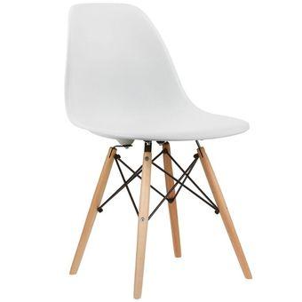Silla Eames Sillon Moblo Para Comedor Patas De Madera Blanca