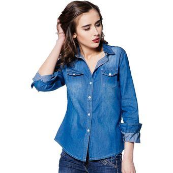 d40ba0b94860 Camisa de mezclilla mujeres barrer denim outerwear Cardigan regular blusa  de diseño para mujeres-Azul