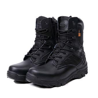 Compra Hombre Zapatos Combate De Cuero De Combate Zapatos Militar Arranque Botas 3c9d33