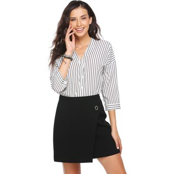 6ee684f117 Blusa De Oficina V-Cuello Profondo Casual Rayas Camisa Modern Casa Para  Mujer-Blanco