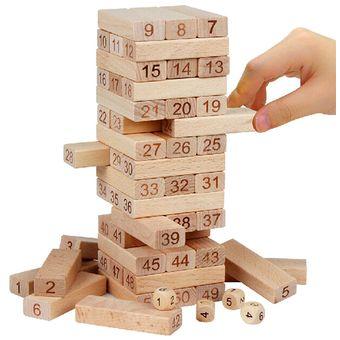 Compra Torre Tipo Jenga 48 Bloques En Madera Juego De Mesa Dados