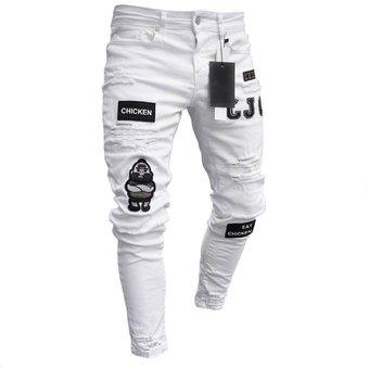 Vaqueros Pitillo De Hombre Con Pantalones Rasgados Blanco Linio Peru Ge582fa15suzhlpe