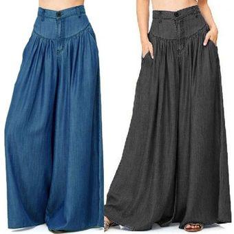Zanzea Mujer Moda Denim Negro Pantalones Azules Bolsillos De Cintura Alta Pantalones Anchos Negro Linio Peru Za448fa0xkn5olpe
