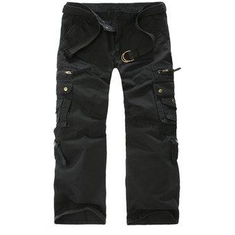2afa3ad3cf Pantalones Hombre Deportivo Militares Pantalon Cargo Bolsillos Múltiples  Algodon - Negro