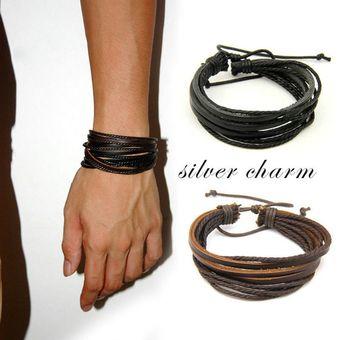 f02ef77a477f EH Múltiples capas de cuero de la PU pulsera brazalete pulsera nuevos  hombres de la moda