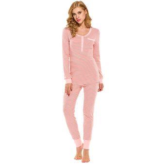 1f552a32e5 Yucheer Ropa de Dormir Dos Piezas Manga Larga Rayas Pijama Conjunto para  Mujer - Color de