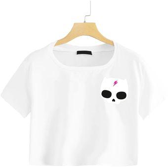 8e74ab5a8 Camiseta Corta Crop Top Mujer Calavera gato punk Gris