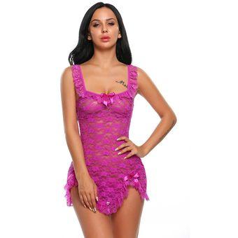 Babydoll Sexy Pijamas De Lencería De Encaje Para Mujer-Violeta Oscuro e407d8bc1812