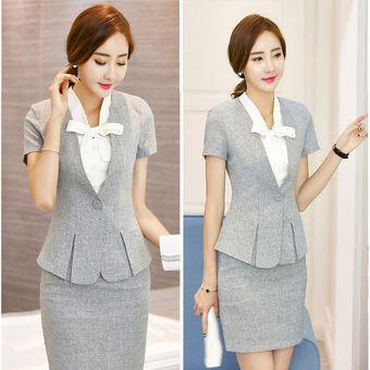 b9da0f37c6a6 Trajes Para Mujer Faldas Y Sacos Formales De Oficina Y Negocio - Gris