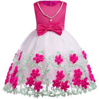 Vestido De Tul Bordado Niñas Vestido De Navidad Rosa