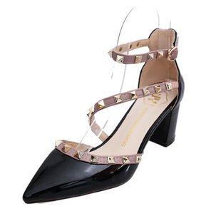 Zapatos De Tacón Remache Zapatos Romanos Para Mujer - Negro ccbb7dd417c9