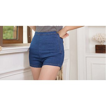 Moda Coreana Pantalones Cortos Vaqueros Sexis Ajustados De Cintura Alta Para Mujer Pantalones Cortos De Tela Vaquera Pantalones Cortos Sexys Cortos Apretados Con Boton En El Lateral Dark Blue Linio Peru