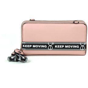 0e44dc7195f Billetera Cloe cierre sencillo con estampado de letras - rosa