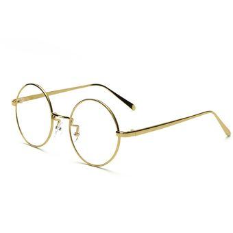 Agotado Vintage ópticos Gafas Redondo Los Anteojos Grande Marco Unisexo Estudiante  Miopía -Dorado decf6637d7b6