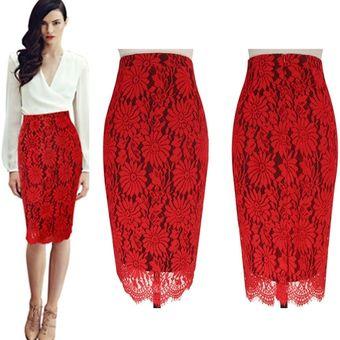 b90ae6b99 Falda Midi Formal Bodycon Slim De Encaje Para Mujer-Rojo