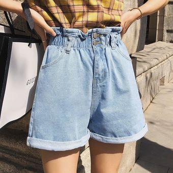 Vintage Pantalones Cortos Sueltos De Mezclilla Para Mujer Verano De Alta Cintura Pantalones Cortos Blancos Jeans Casual De Pierna Ancha Para Mujeres Pantalones Cortos Femeninos Light Blue Linio Peru Un055fa10x3xblpe