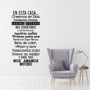 4b018574b750 Vinilo Decorativo En Esta Casa VDB003