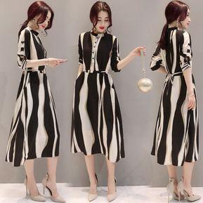 7191f9d64 Vestido Largo De Raya Oficina Para Mujer - Blanco Y Negro