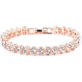 af34371aabe1 Pulsera De Cristal Con Incrustaciones De Diamante Artificial (oro Rosa)