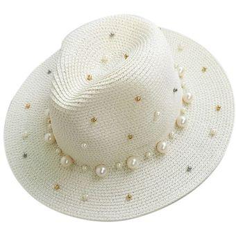 Agotado EY La Mujer Elegante Perla Verano Cordón Flat Rebosaban Sombrero De  Paja Playa Sol Sombreado- c51de09a82d
