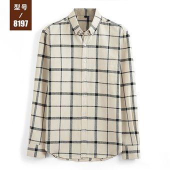 81f444c688 Camisa Casual Juvenil De Moda De Manga Larga A Cuadros De Hombre-Gris